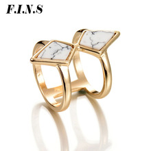 hot deal buy f.i.n.s boho marble ring gold color brand stackable geometric finger rings geometric white faux stone anel rings for women
