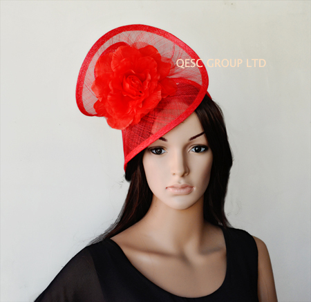 NEW Wholesale RED Elegant sinamay fascinator hat with silk flower for wedding kentucky derby races FREE
