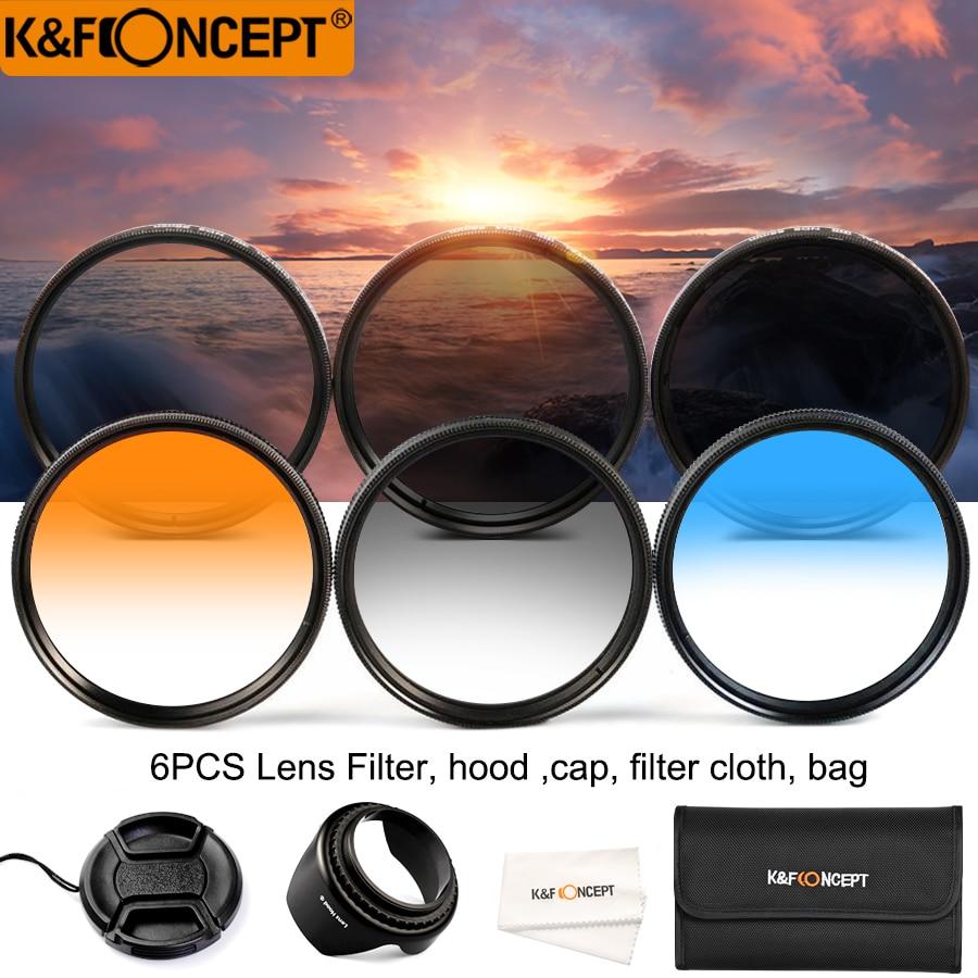 K&F CONCEPT 52mm/58mm Neutral Density ND2 ND4 ND8 3Pcs Filter Kit+Graduated Grey Blue Orange Lens Filter Set for all DSLR Lens цена