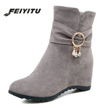 feiyitu  New Women Zipper Work Shoes Black Crystal Ladies Ankle Boots Gray Woman Soft for Plsu Size