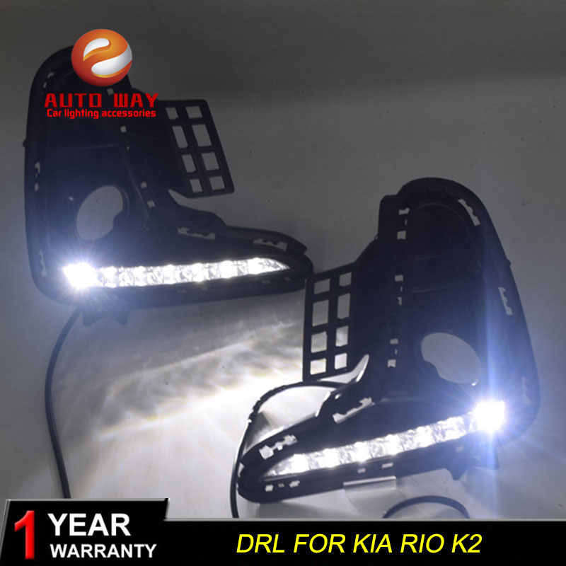 Case Voor Kia Rio K2 2017 2018 Geel Signaal Relais 12V Auto Drl Lamp Waterdicht Abs Led Daytime running Light