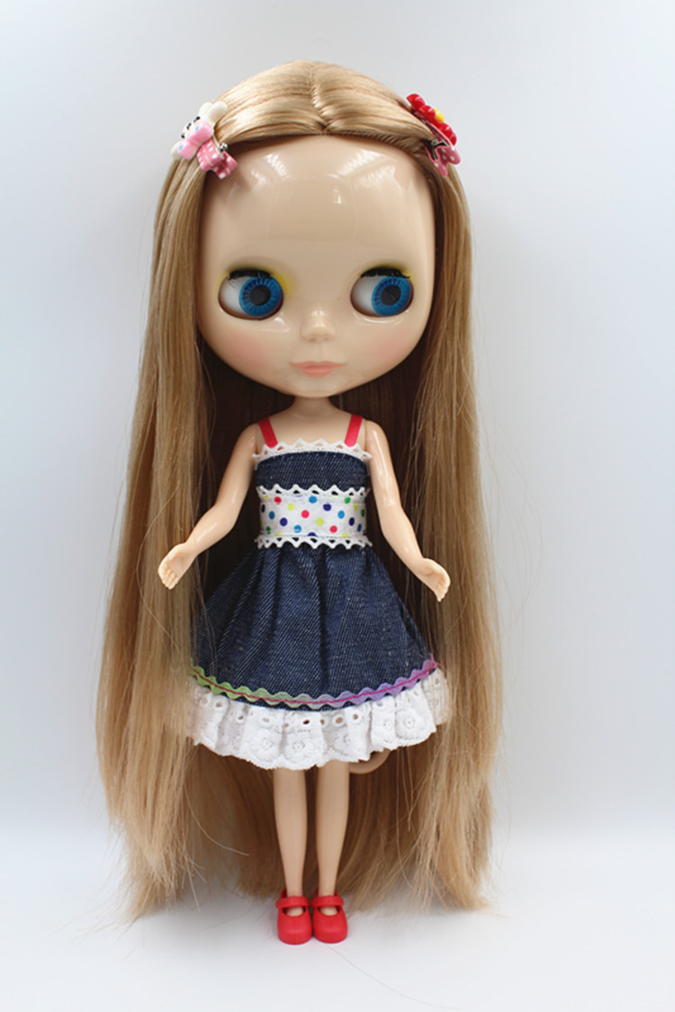 Blygirl Blyth doll Gold straight hair doll NO.15ABL350 ordinary body 7 joints body skin white
