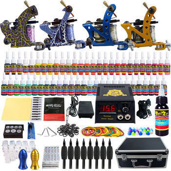 Tattoo 4 Pro Tattoo Machine Kit 54 Colors Ink Power Supply Case Box microblasting pen