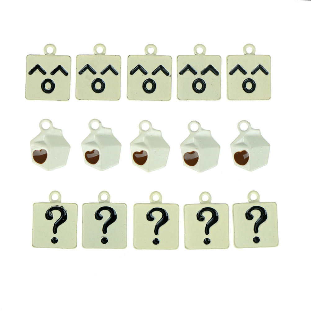 5Pcs/Set DIY Question Mark Smile Face Milk Bottle Decoration Charms Pendant Jewelry Making Tools