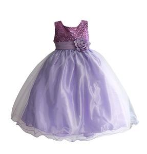 Image 1 - 4 10T Girls Party Dress Colorful Sequined Kids Children Clothes Princess tutu long Wedding Costume for kids robe fille enfant
