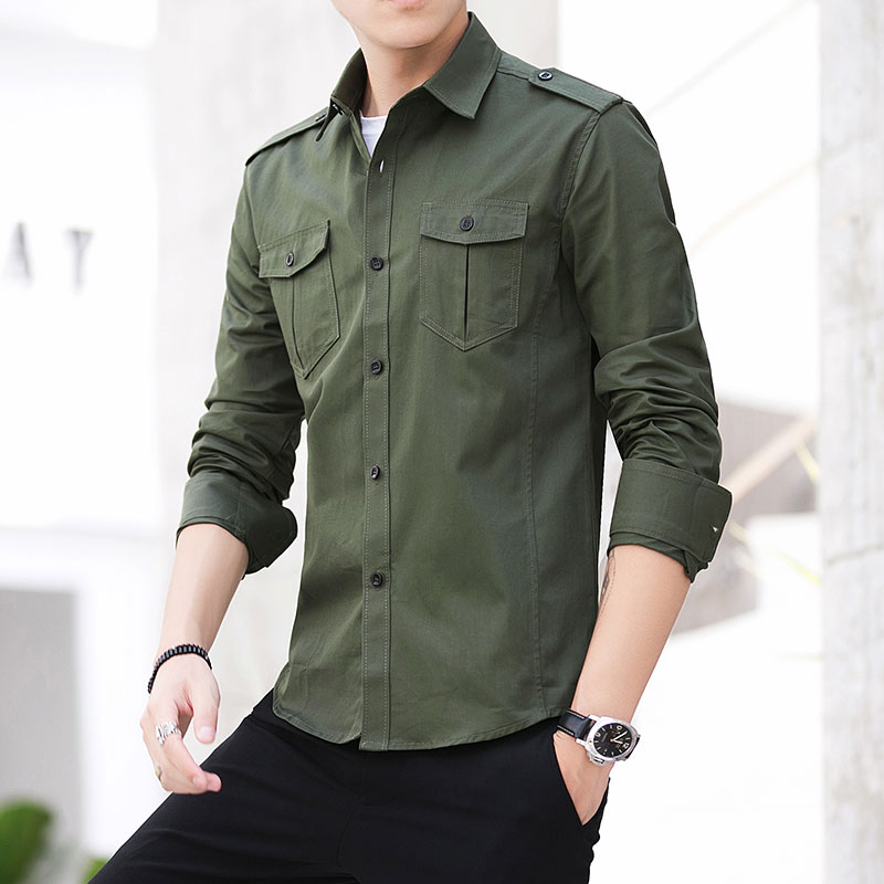 Man Shirt 2019 New 100%  Cotton Safari Style Fashion Solid Comfortable Long Sleeved Shirt Epaulette Shirt Mens Military Shirts