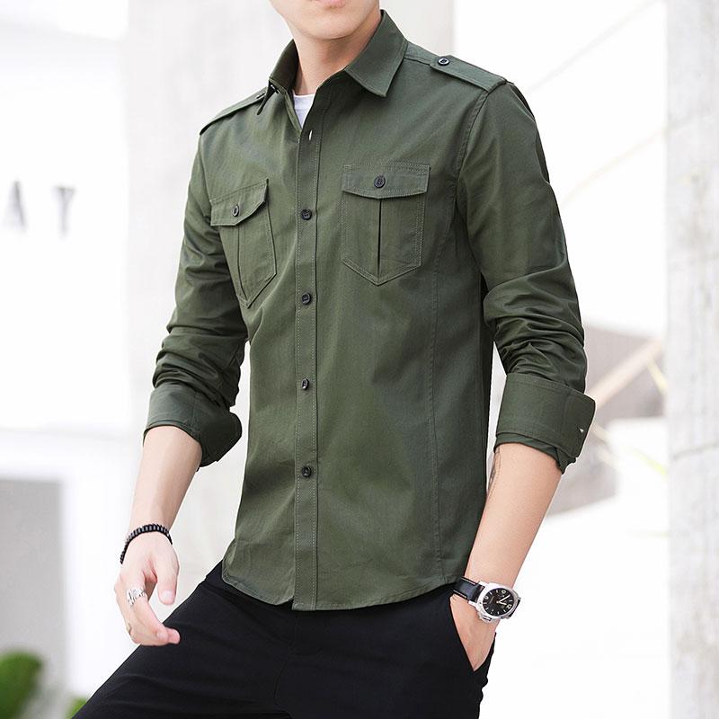 Man Shirt 2019 New 100%  Cotton Safari Style Fashion Solid Comfortable Long Sleeved Shirt Epaulette Shirt Mens Military Shirts