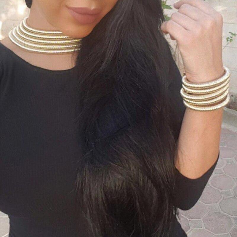 UKEN mode Bijoux ensembles femmes bohême en couches collier ras du cou Bracelet ensembles Kim Kardashian déclaration Bijoux femme