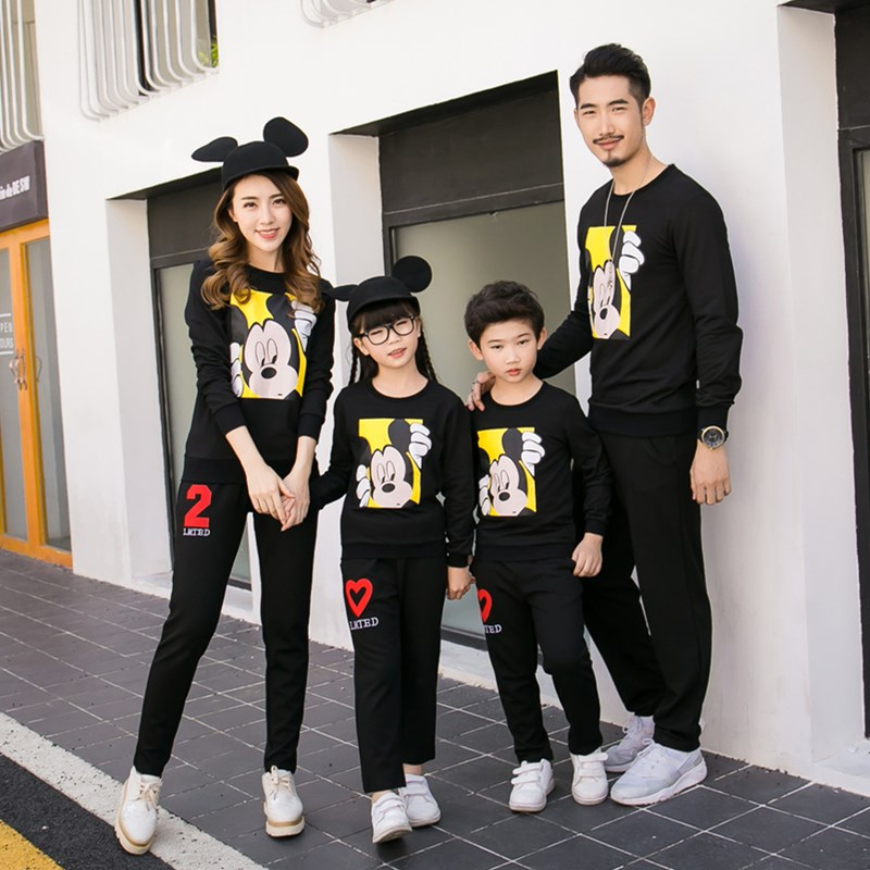 Spring Autumn Winter Family Matching Clothes Black Casual Sweater Matching Mother And Daughter Clothes Outfits Family Look  gorras planas de fortnite