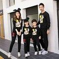 Primavera Outono Inverno Família Roupas Combinando Preto Casual Camisola Mãe E Filha Combinando Roupas Outfits Olhar Família