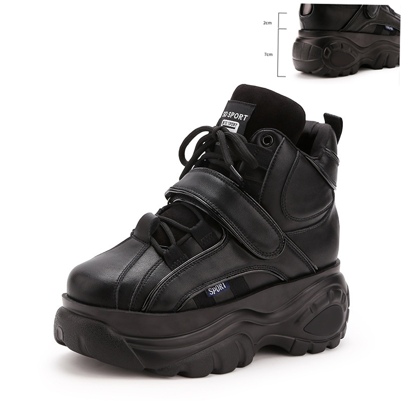 Trendy Women's Sneakers,KJZTSFHigh Top Leather Female Platform Sneakers,Women Chunky Ankle Boots Increase Femme Basketball Shoes