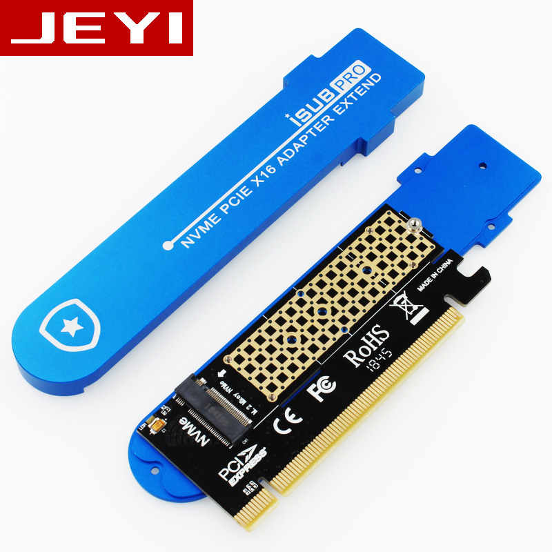 JEYI iSUB PCIE3.0 NVME Adapter x16 PCI-E Full Speed M.2 2280 aluminum sheet Thermal conductivity silicon wafer cooling 3