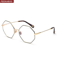 2f03908b57eb Peekaboo optical eyeglasses frame women vintage 2018 gold metal oversized  octagon polygon glasses for computer protection men