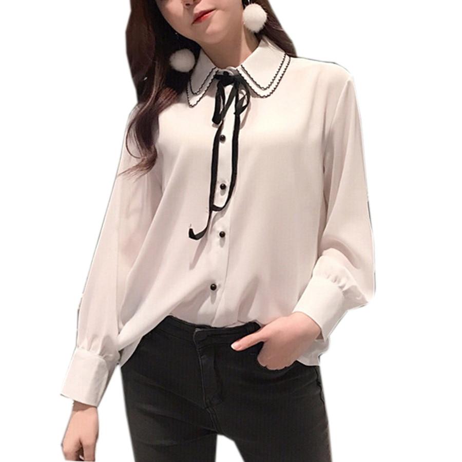 Coreano de Moda de Verano Blusa de La Gasa Mujeres de Manga Larga Turn Down Coll