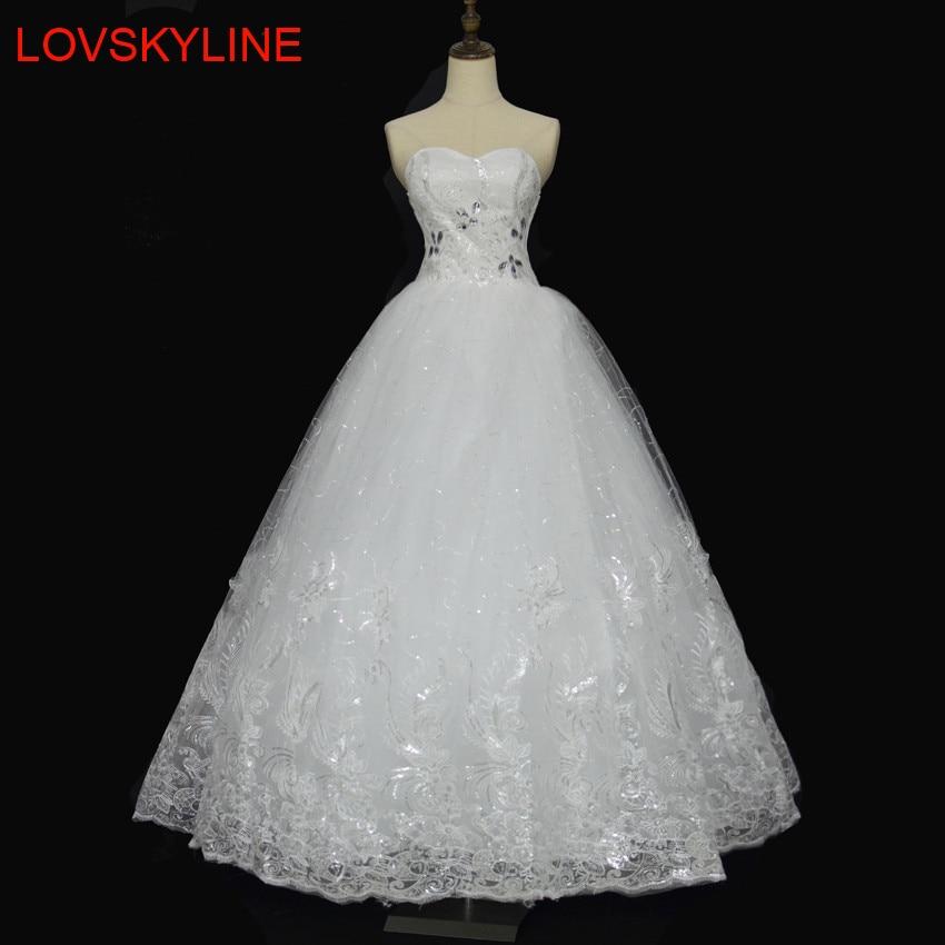Distinctive Design Lace wedding dress formal dress 2018 bride tube top wedding dress plus size slim luxury