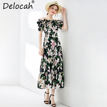 Delocah New Women Spring Summer Dress Runway Fashion Sexy Off shoulder Ruffles Lily Printed Elegant Party Long Vintage Dresses