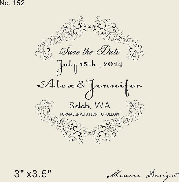 Save The Date Stamp Custom Rubber Wedding DIY SAVE DATE With Damask Ornaments On Wood Block