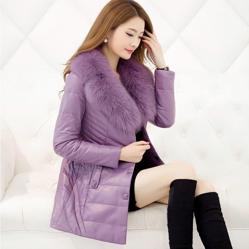 D'hiver pink deep Cuir Manteau Femmes De 2018 Vente Wuj0763 En Casaco Feminino Fourrure black Col Red Chaude purple Style Renard Plus Taille gray Pu Veste Femelle Purple Européen Faux xxpzw04q