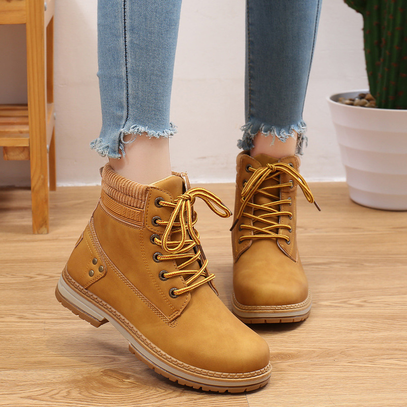 Women 's Autumn And Winter Boots Female British Style Martin Boots Women 's Fashion Ankle Boots Thick Heel