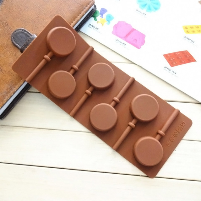 Silicone Round Lollipop Cake Chocolate Soap Pudding Jelly Candy Ice Cookie Biscuit Mold Mould Pan Bakeware  J2Y