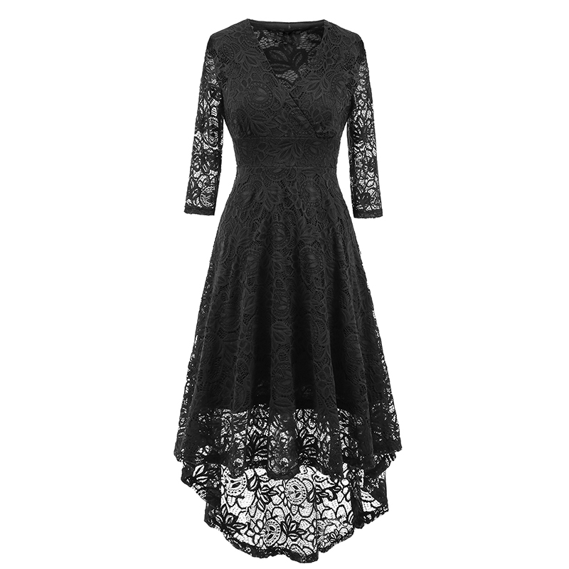 b43e4d1a6f3c ... Kostlich 2017 Women Autumn Dress V-Neck 34 Sleeve Lace Hollow Sexy  Evening Party Dresses ...