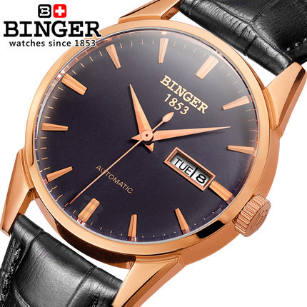 2017 New Binger Luxury Brand Leather Strap Watch for Men Ultra-thin Automatic Analog Military Watches Waterproof Wristwatch ultra luxury 2 3 5 modes german motor watch winder white color wooden black pu leater inside automatic watch winder