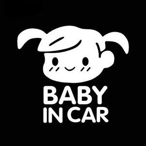 Image 4 - SLIVERYSEA תינוק במכונית מגניב אחורי רעיוני משקפי שמש ילד רכב מדבקות אזהרת מדבקות תינוק ילדות רכב סטיילינג שחור/ כסף
