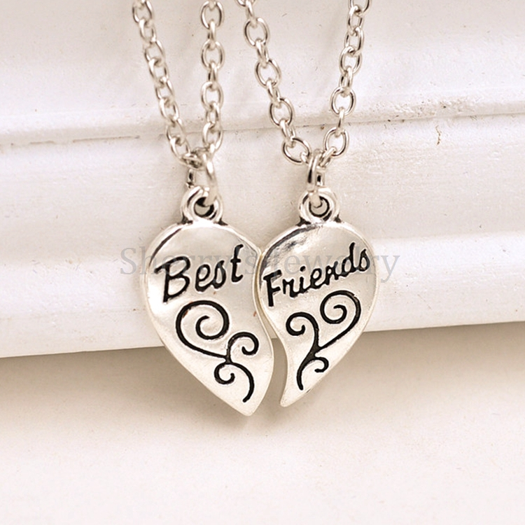 Two Piece Couple Heart Charm Best Friend Letter Engraved