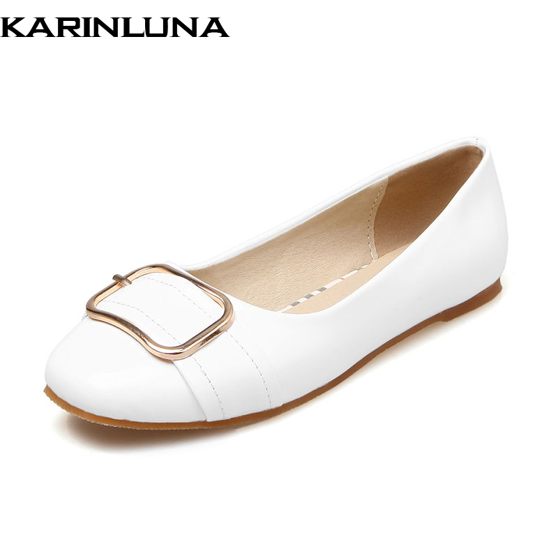KARINLUNA 2018 Spring Autumn Fashion Patent Leather Women Flats Big Size 34-43 Shallow slip-on Buckle Shoes Woman Casual Shoes new fashion luxury women flats buckle shallow slip on soft cow genuine leather comfortable ladies brand casual shoes size 35 41