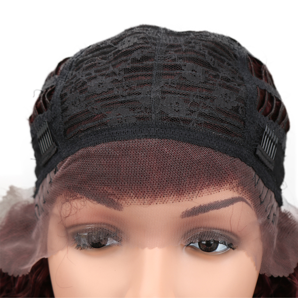 HTB1FE9ygviSBuNkSnhJq6zDcpXaU Sleek Lace Front Human Hair Wigs For Black Women Brazilian Ombre Curly human hair Wig Wet and wavy Wig Curly Lace Front wig
