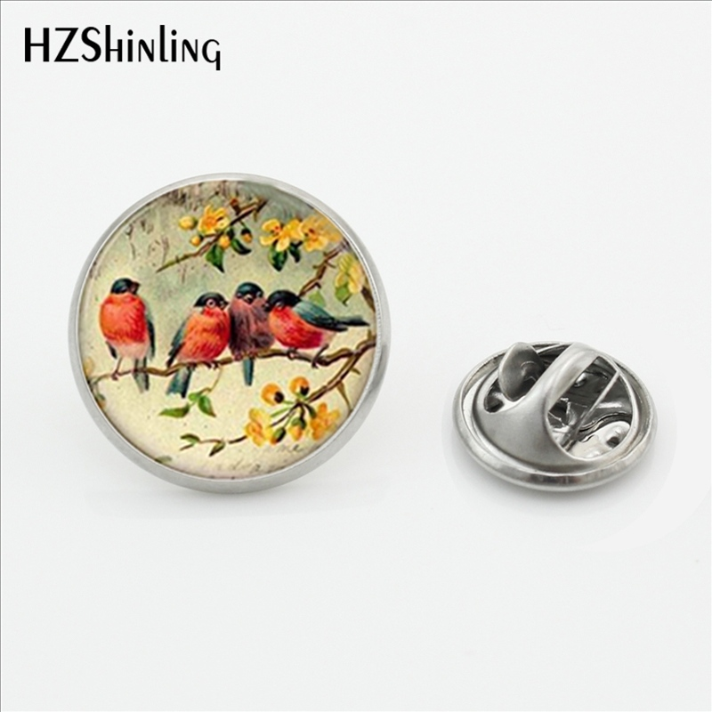 New Fashion Red Robin Bird Brooch Pins Handmade European Robin Bird Vintage Lapel Pins Round Shirt Stainless Steel Collar Pin