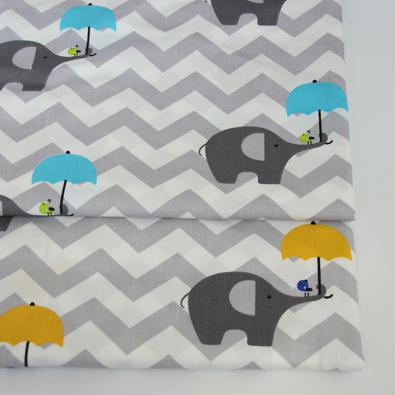 Grey Chevron Elephant Umbrella Handwork Tissus Tilda Cotton Fabric DIY Crib Baby Bedding Patchwork Quilting Cushio Decor Cloth