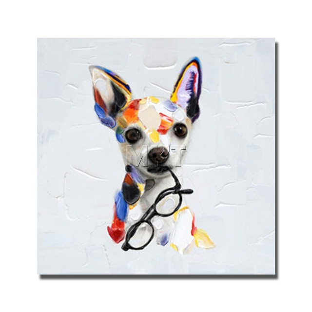 Dog Oil Painting By Hand Drawing Modern Knife Paintings Lovely Pet Home  Goods Home Decorations For