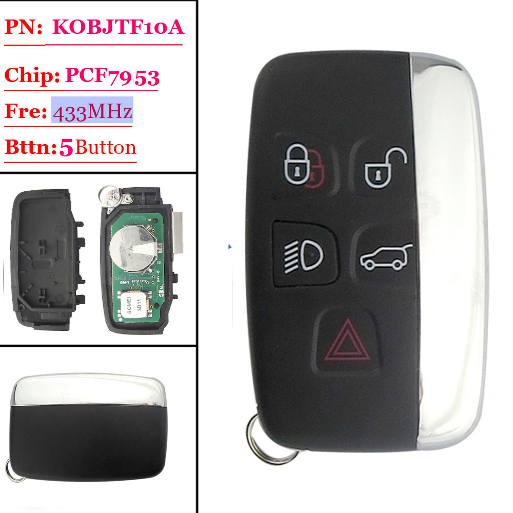 Big discount(1 piece) 4+1 Button Remote Key with 433MHZ FOR Land Rover Discovery(MIC) Smart keyless big discount 1 piece 4 1 button remote key card with 433mhz for land rover freelander 2 2006 2007 2008 2009 2010