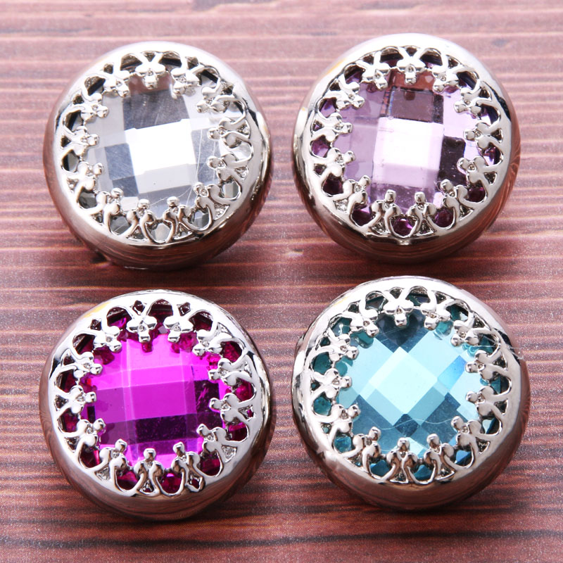 10pcs/lot New 18mm Snap Jewelry Mixed Rhinestone metal flower Snap Buttons Fit Snap Bracelet Bangles Necklaces fashion jewelry image