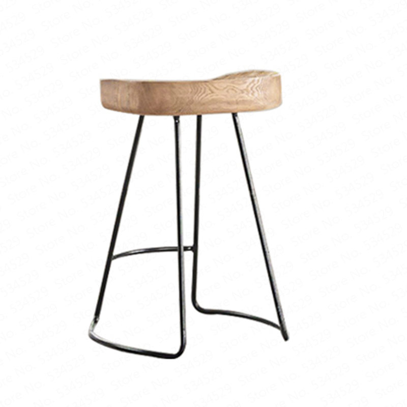 Modern Simple Iron Foot Stool Surface Solid Wood Bar Stool Home High Chair Coffee Shop Cold Drink Shop Bar Stool Dotomy