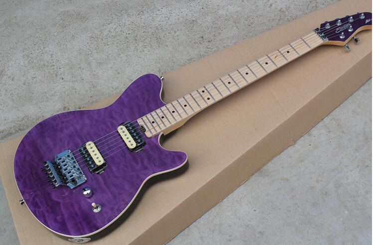 Factory price Music man AX40 electric guitar Violet large decorative pattern 0328