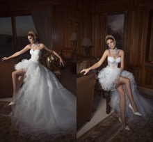 Sexy Low Vestido Noiva Sweetheart Dress Bride Pleat Tulle Appliques Wedding Dresses Customized Made