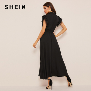 Image 2 - SHEIN Layered Ruffle Detail Belted Fit And Flare Dress 2019 Stand Collar Sleeveless Black Solid Women Spring Autumn Dresses
