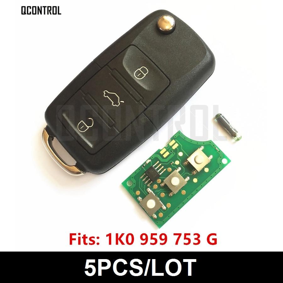 QCONTROL New Car Remote Key DIY for SKODA Auto Octavia II PN 1K0959753G 5FA009263 10 Year
