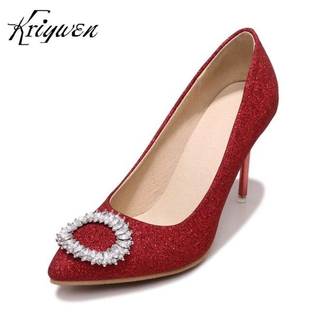 df7cd3a49a8 Kriywen Women Bling Shoes Slip-On Party Dress Crystal Woman Pumps Extreme High  Heels Stilettos