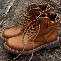 Genuine Leather Men Boots Autumn Winter Ankle Boots Fashion Footwear Lace Up Shoes Men Business Casual High Top Men Shoes745