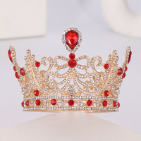 New Red Crystal Big Crown For Bride Full Round Wedding Crown Headpieces Fashion Bridal Hair Jewelry Princess Wedding Tiaras