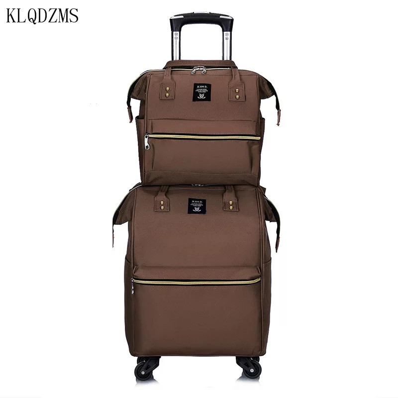 KLQDZMS New Suitcases With Wheeled Trolleys ,Cosmetic Bags Oxford Business Travel Cabin Rolling Luggage Hot Sell