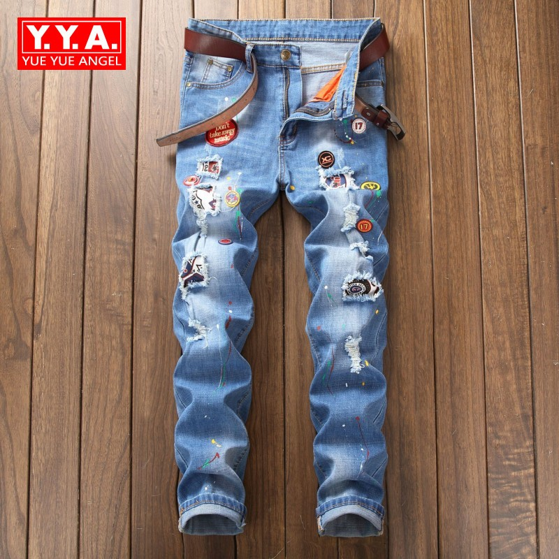 Male New Fashion 2018 Spring Hole Ripped Jeans For Men Straight Paint For Pants Streetwear Slim Fit Cowboys Jean For Mens