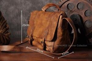 Image 2 - Vintage skórzana torba męska skórzana torba na ramię męska torba Crossbody męska Sling torba rekreacyjna torebka na ramię brązowy szary