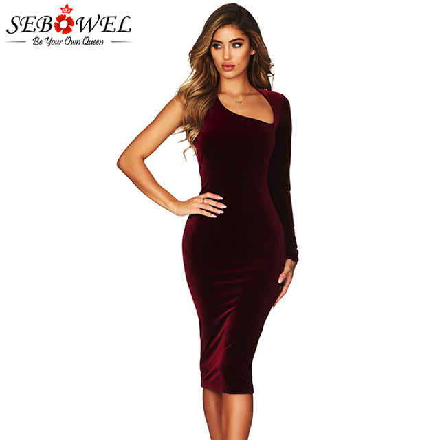 SEBOWEL Sexy Burgundy Velvet Midi Club Party Dress Women Elegant Asymmetric  One Sleeve Bodycon Dress Ladies 6be5b9a9e744