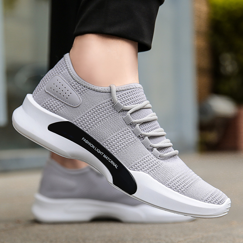 2018 Lace Up Men Casual Shoes Spring Autumn Breathable Mesh Tenis Shoes Walking Footwear Male Shoes Black And White Men Sneakers simple men s casual shoes with white and lace up design page 5