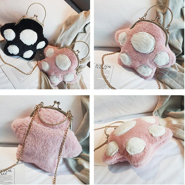 Fluffy Cat Paw Shoulder Bag