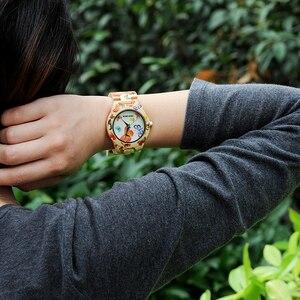 Image 3 - بوبو الطيور ساعة من خشب الخيزران المرأة مصمم الطباعة حركة الكوارتز الخيزران حزام السيدات ساعة اليد B O20